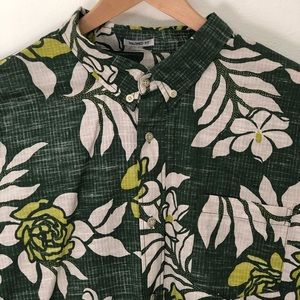 Reyn Spooner Shirt Green Roses Tailored Fit 2XL